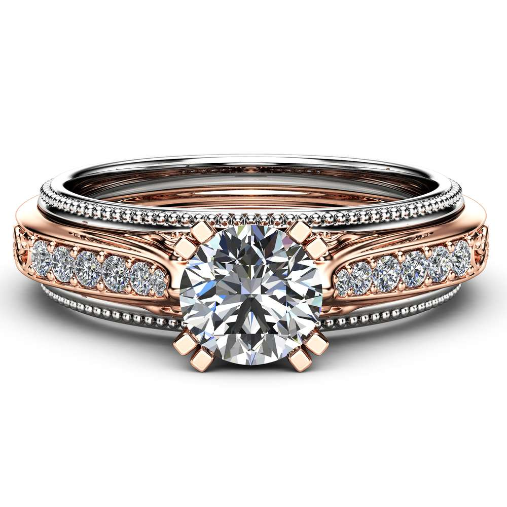 Unique Art Deco Engagement Ring 14K Two Tone Gold 1 Carat Moissanite Ring Vintage Moissanite Engagement Ring