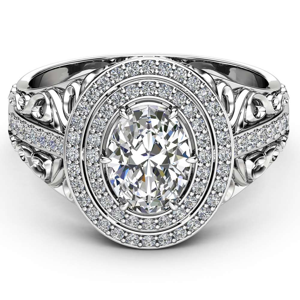 Oval Halo Engagement Ring Double Halo Ring 14K White Gold Ring  Moissanite Engagement Ring Unique Filigree Engagement Ring