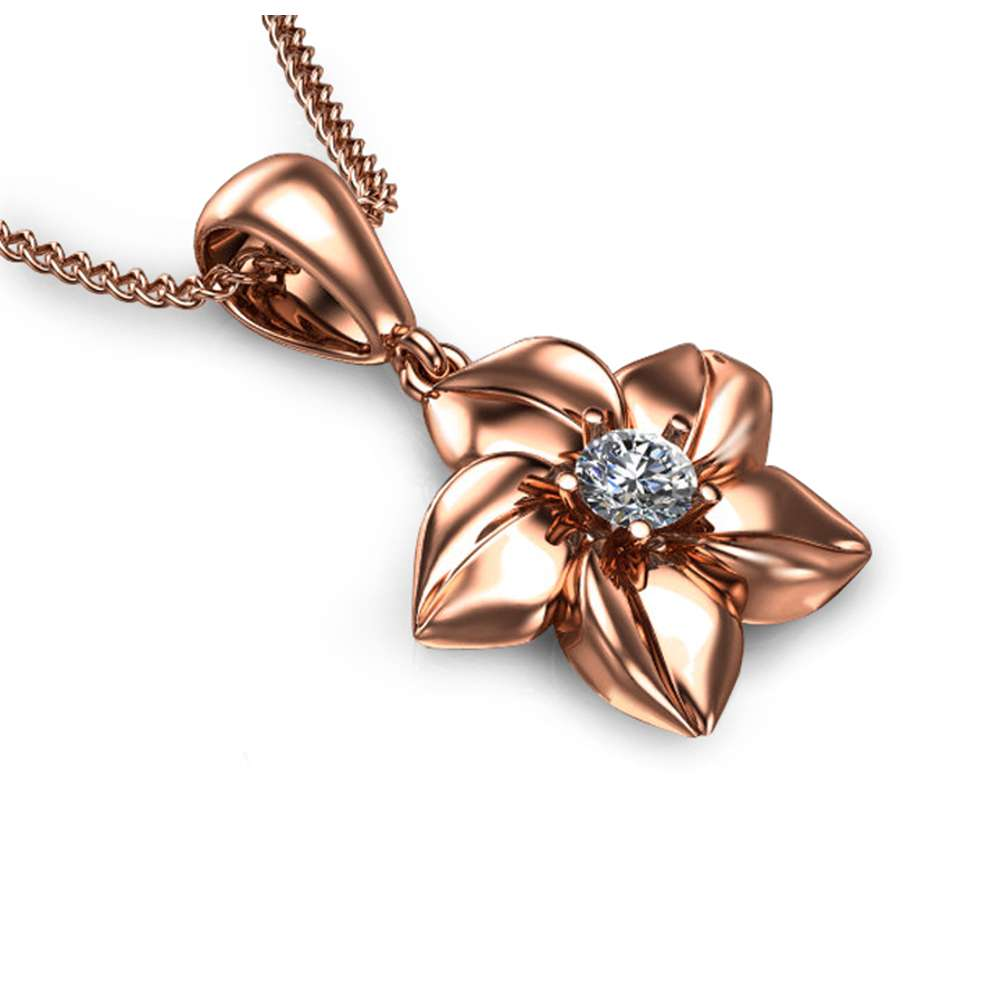 14K Rose Gold Diamond Pendant,Designer Pendant,Flower Pendant,Gold necklace,Diamond necklace,Flower necklace , Uniqe  Pendant.