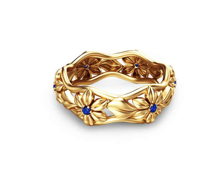 Blue Sapphire Eternity Wedding Band 14K Yellow Gold Flower Ring
