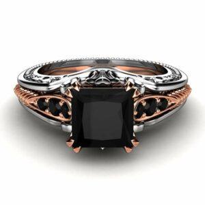 Unique Engagement Ring 14K Two Tone Gold Ring Edwardian Black Diamond Engagement Ring