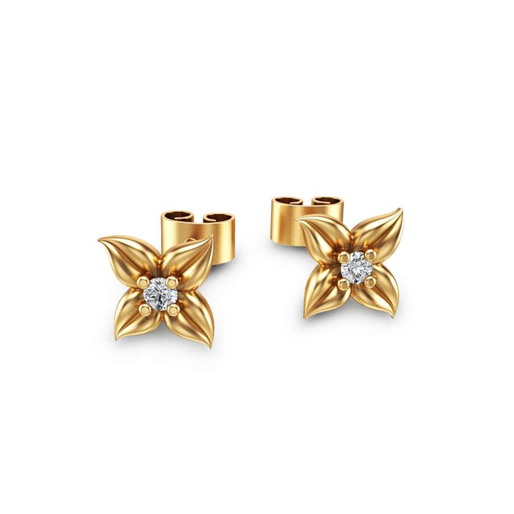 14K Yellow Gold Diamond Stud Earrings Diamond Studs Flower Earrings Unique Earrings