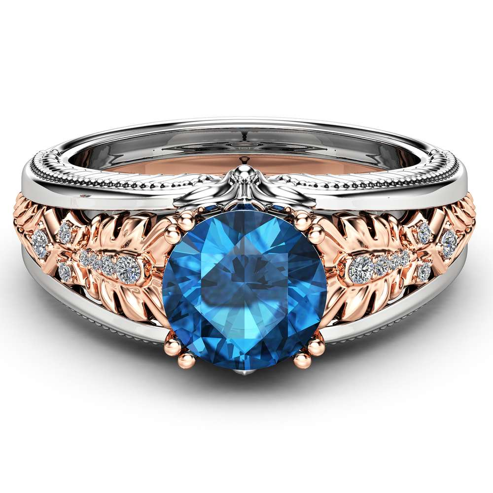 Blue Diamond Vintage Engagement Ring 14K White and Rose Gold Engagement Ring  2 Carat Blue Diamond Ring