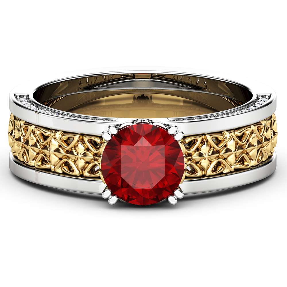 Art Deco Engagement Ring 14K Two Tone Gold Natural Gemstone Ring Unique Engagement Ruby Ring