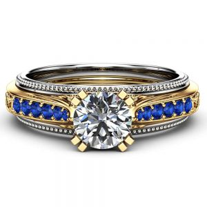 Art Deco Engagement Ring Unique 14K Two Tone Gold 1 Carat Moissanite Ring and Blue Diamonds