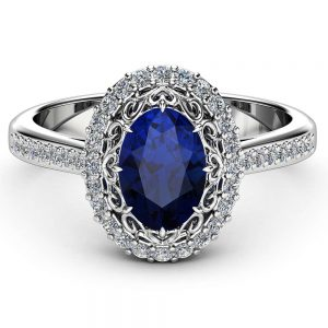 Oval Blue Sapphire Engagement Ring 14K Solid White Gold Diamond Halo Ring Oval Cut Sapphire Ring Filigree Styled Halo Engagement Ring