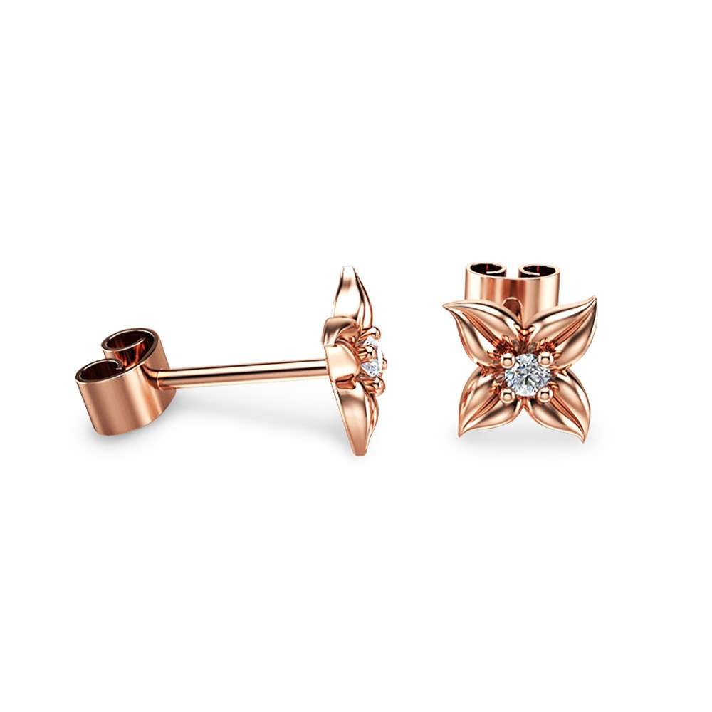 14K Rose Gold Diamond Stud Earrings Diamond Studs Flower Earrings Unique Earrings.