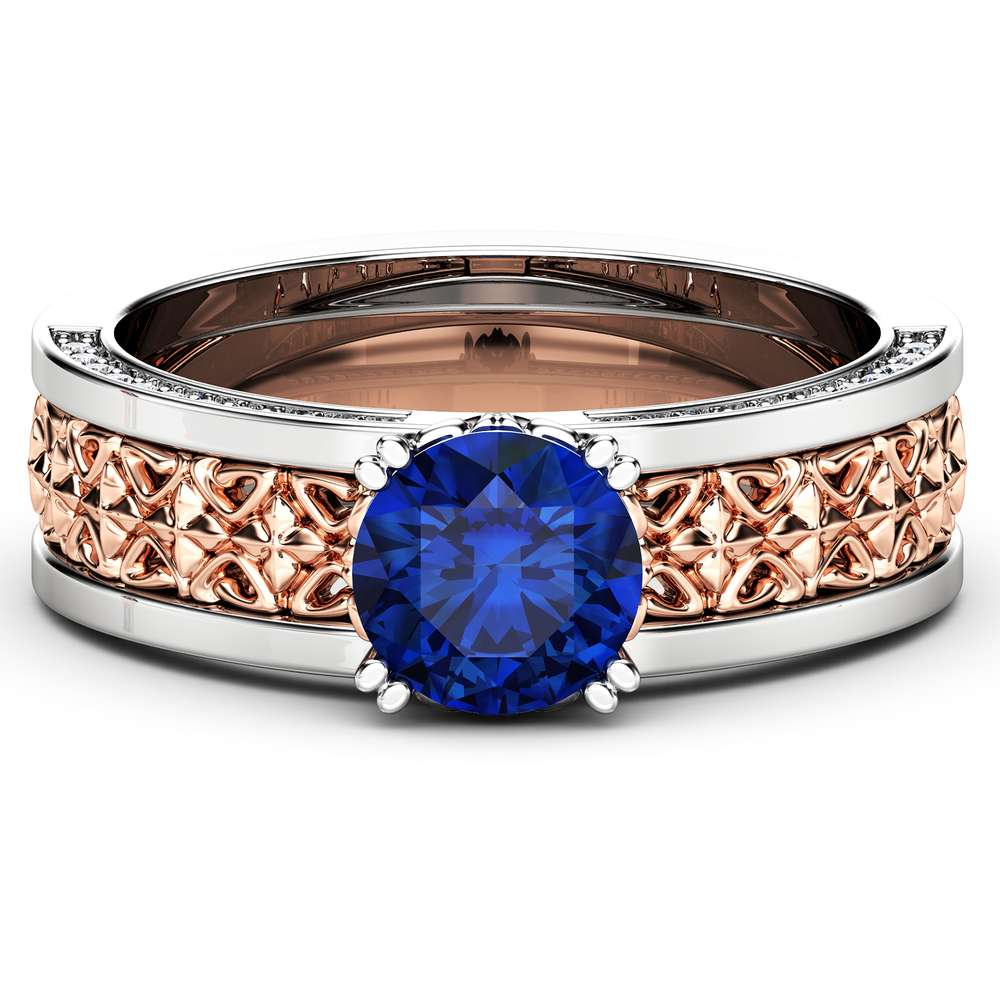 Blue Sapphire Engagement Ring 14K Two Tone Gold Gemstone Ring Unique Art Deco Engagement Ring