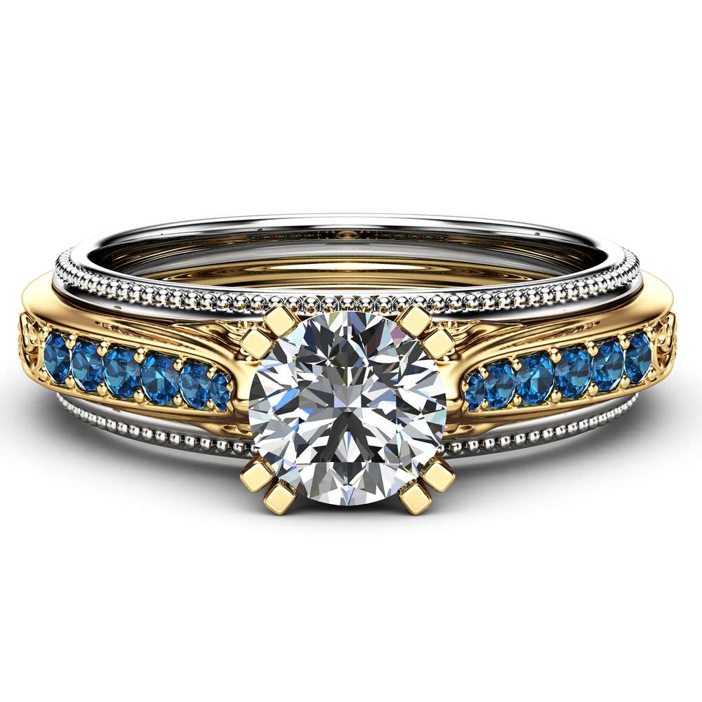 Art Deco Engagement Ring Unique 14K Two Tone Gold Moissanite Ring and Blue Diamonds
