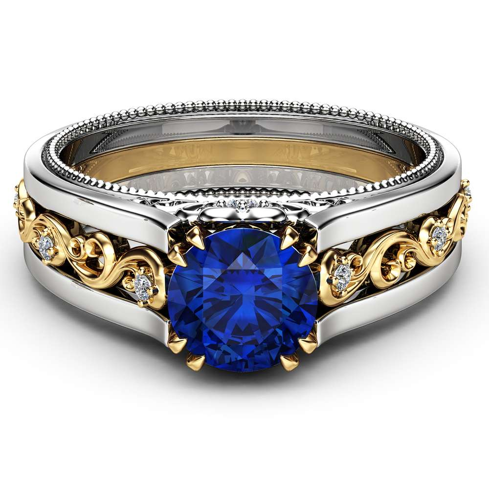 1 Carat Natural Blue Sapphire Engagement Ring 14K Two Tone Gold Gemstone Ring Unique Filigree Engagement Ring