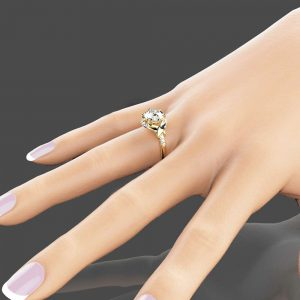 14K Yellow Gold Moissanite Engagement Ring Wedding Engagement Ring Unique 2Ct Moissanite Ring