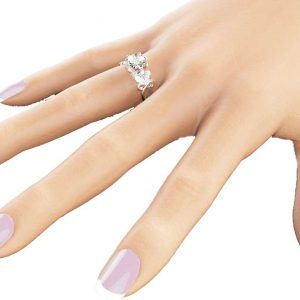 14K White Gold Diamond Ring Unique Engagement Ring Conflict Free Diamond Ring