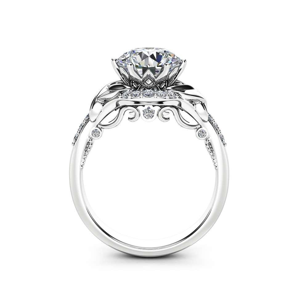 Unique Art Deco Moissanite Engagement Ring 14K White Gold Ring 2 Carat Moissanite Engagement Ring
