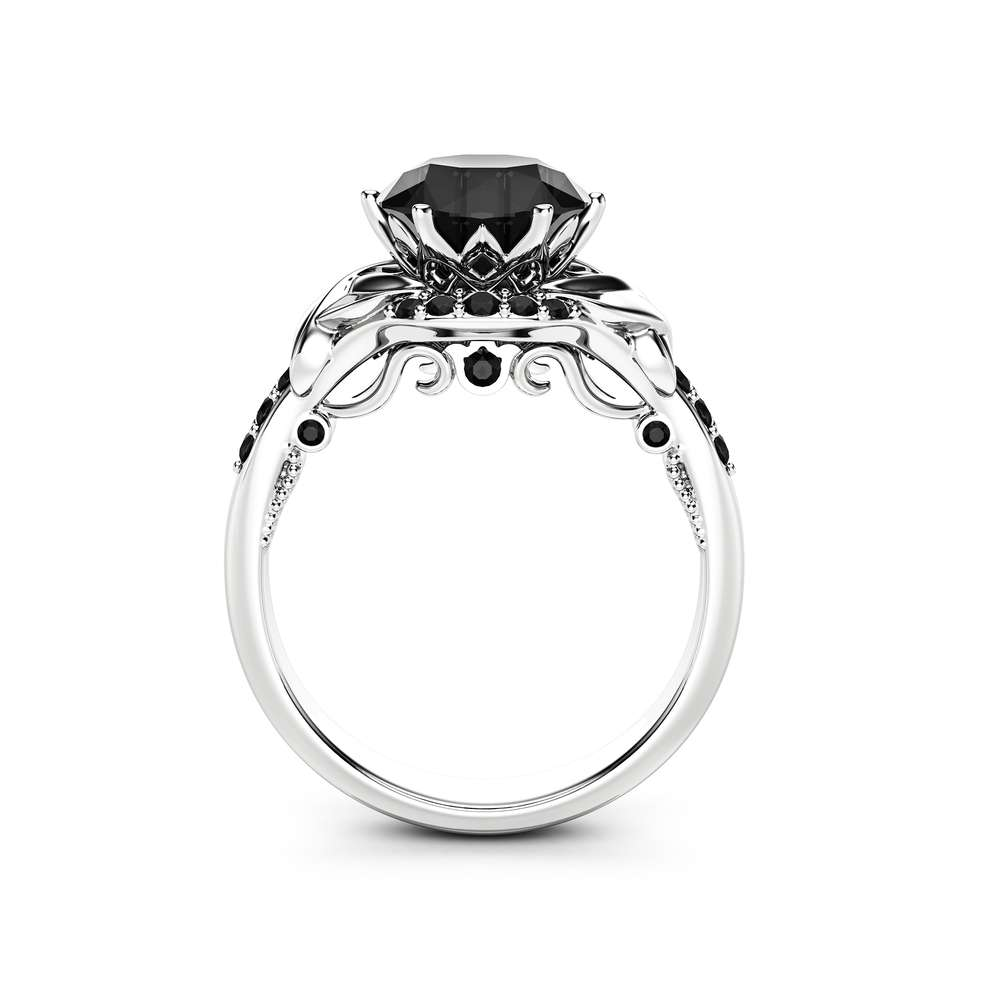 Art Deco Black Diamond Engagement Ring 14k White Gold Ring Unique Natural Black Diamonds Ring Camellia Jewelry