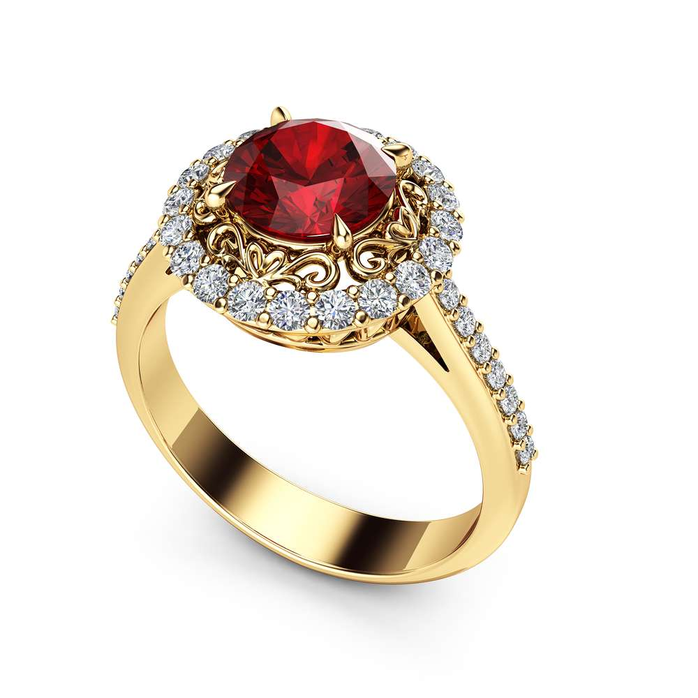 Halo Ruby Engagement Ring 14K Yellow Gold Unique Diamond Halo Ring 1 Carat Natural Ruby Vintage Engagement Ring