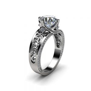 Solid White Gold Moissanite Engagement Ring 2 Carat Moissanite Ring with Diamonds Art Deco Engagement Ring