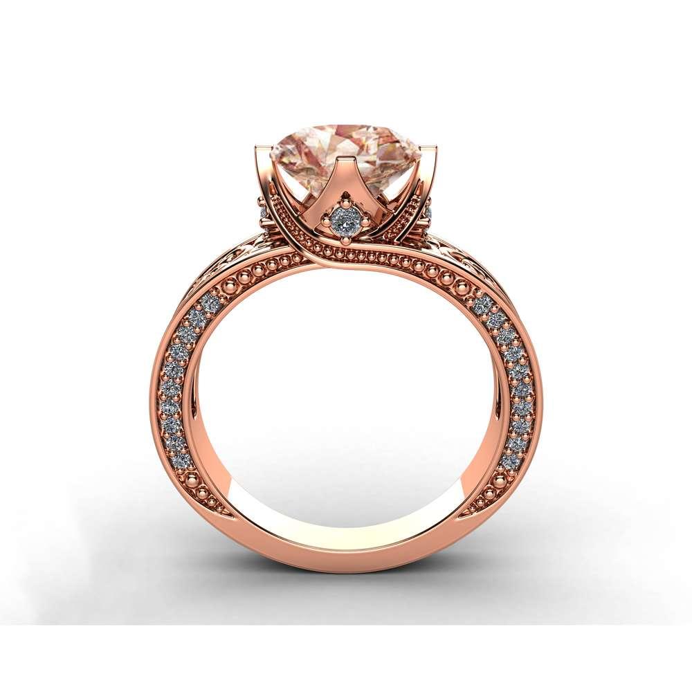 Rose Gold Morganite Engagement Ring 2 Carat Morganite Ring with Diamonds Art Deco Engagement Ring