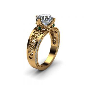 Solid Yellow Gold Moissanite Engagement Ring 2 Carat Moissanite Ring with Diamonds and Emeralds Art Deco Engagement Ring