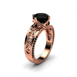 2 Carat Black Diamond Rose Gold Engagement Ring / Filigree Victorian Ring / Unique Gift Right Hand Ring / Vintage Art Deco Engagement Ring