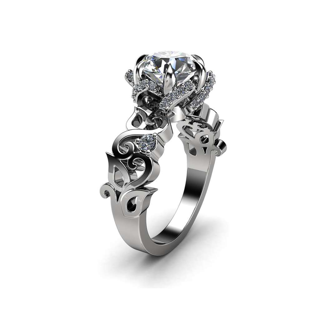 Twisted Halo Engagement Ring 14K White Gold Ring Diamonds Halo Ring Unique Petal Ring Filigree Ring