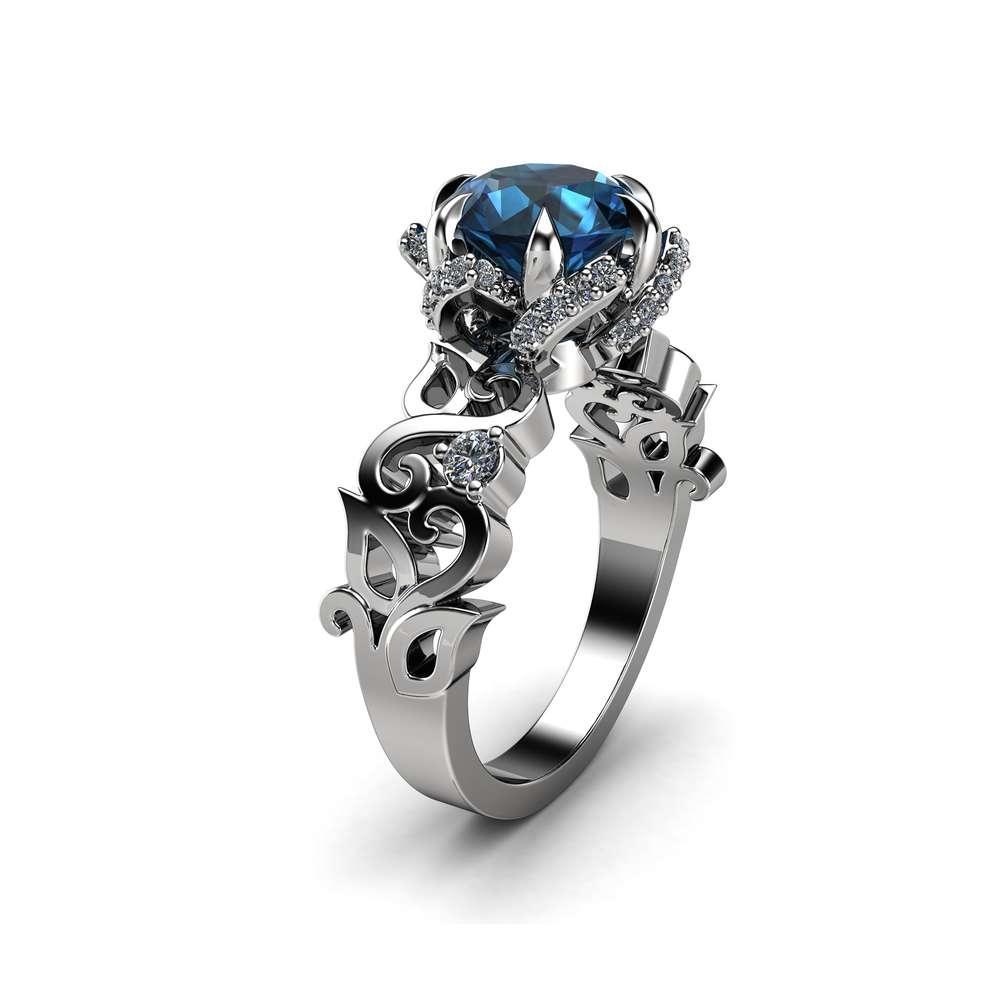 Twisted Petal Topaz Engagement Ring 14K White Gold Ring 2 Carat Topaz Ring Halo Ring Modern Ring