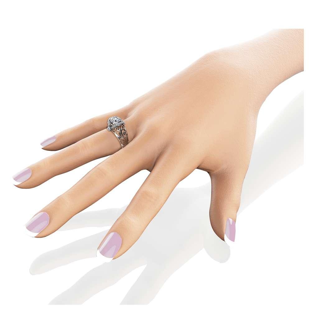 Moissanite Filigree Engagement Ring 14K White Gold Art Deco Ring Moissanite Ring with Trilliant Diamonds