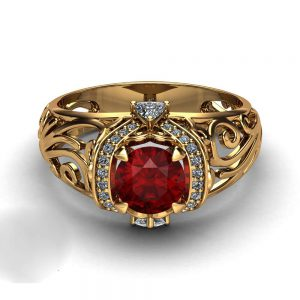 Ruby Filigree Engagement Ring 14K Yellow Gold Art Deco Ring Ruby Ring with Trilliant Diamonds