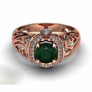 Emerald Filigree Engagement Ring 14K Rose Gold Art Deco Ring Emerald with Trilliant Diamonds