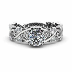 Filigree Moissanite Engagement Ring 14K White Gold Diamonds Ring Unique Victorian Ring