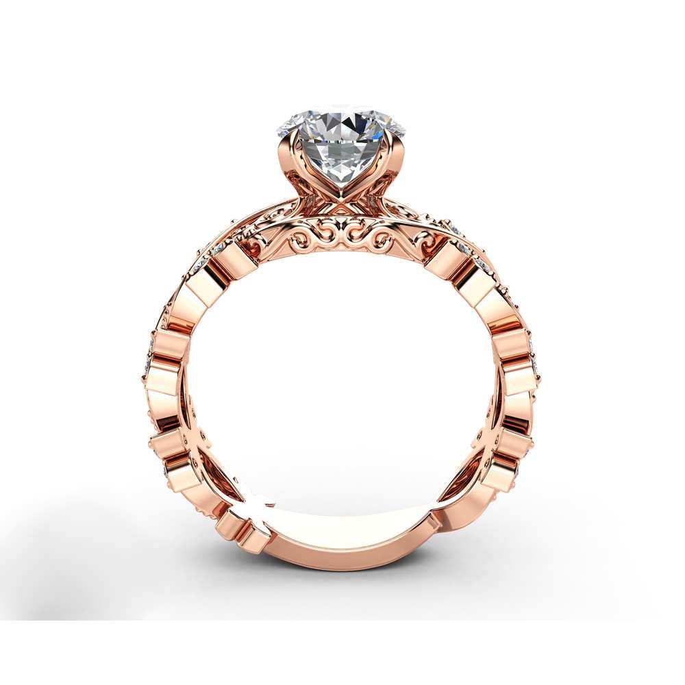 Filigree Moissanite Engagement Ring 14K Rose Gold Diamonds Ring Unique Victorian Ring
