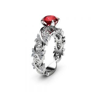 14K White Gold Filigree Ruby Engagement Ring for Women, Victorian Ring, Unique Gifts, Gold Rubi Engagemen Ring, Art Deco Engagement Ring
