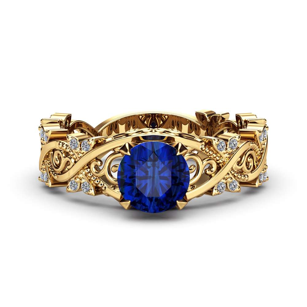 14K Gold Filigree Blue Sapphire Engagement Ring / Victorian Ring for Women / Unique Engagement Ring / Art Deco Ring / Filigree Ring