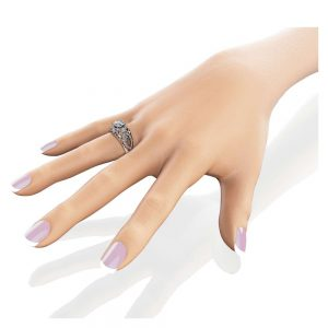 Moissanite Unique Engagement Ring 14K White Gold Filigree Ring Unique Moissanite and Diamonds Engagement Ring