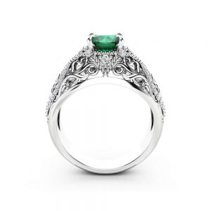 Emerald Unique Engagement Ring 14K White Gold Filigree Ring Unique Emerald and Diamonds Engagement Ring