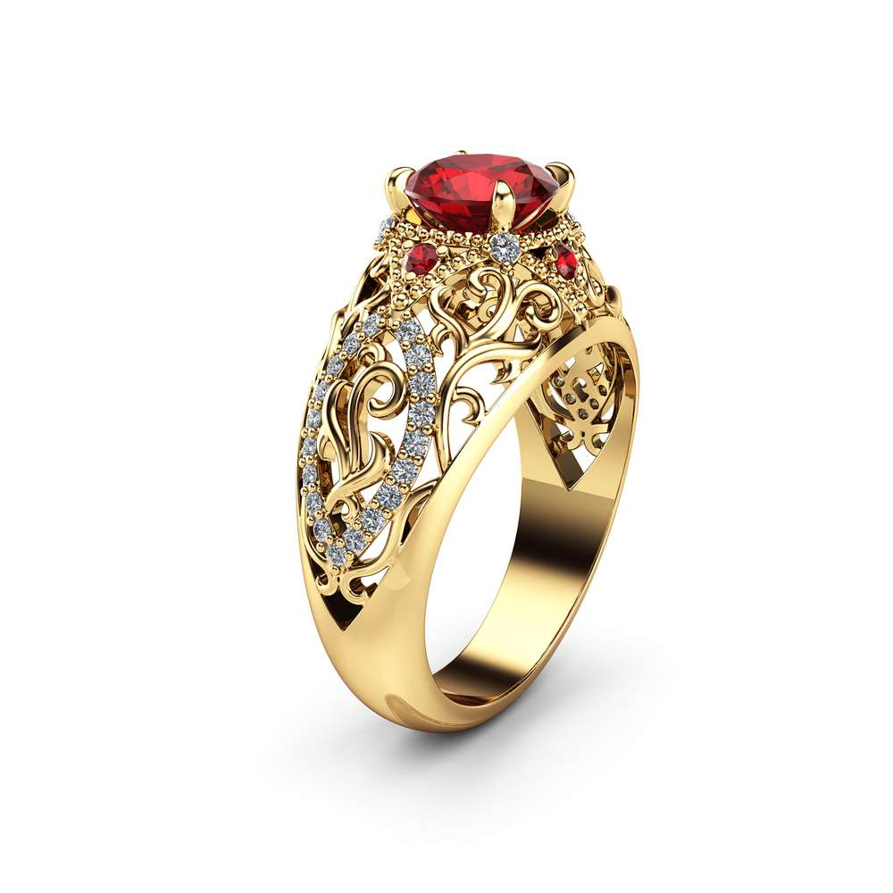 Ruby Unique Engagement Ring 14K Yellow Gold Filigree Ring Unique Ruby and Diamonds Engagement Ring