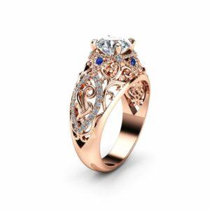 Rose Gold Unique Engagement Ring Moissanite Filigree Ring Unique Diamonds and Sapphires Engagement Ring