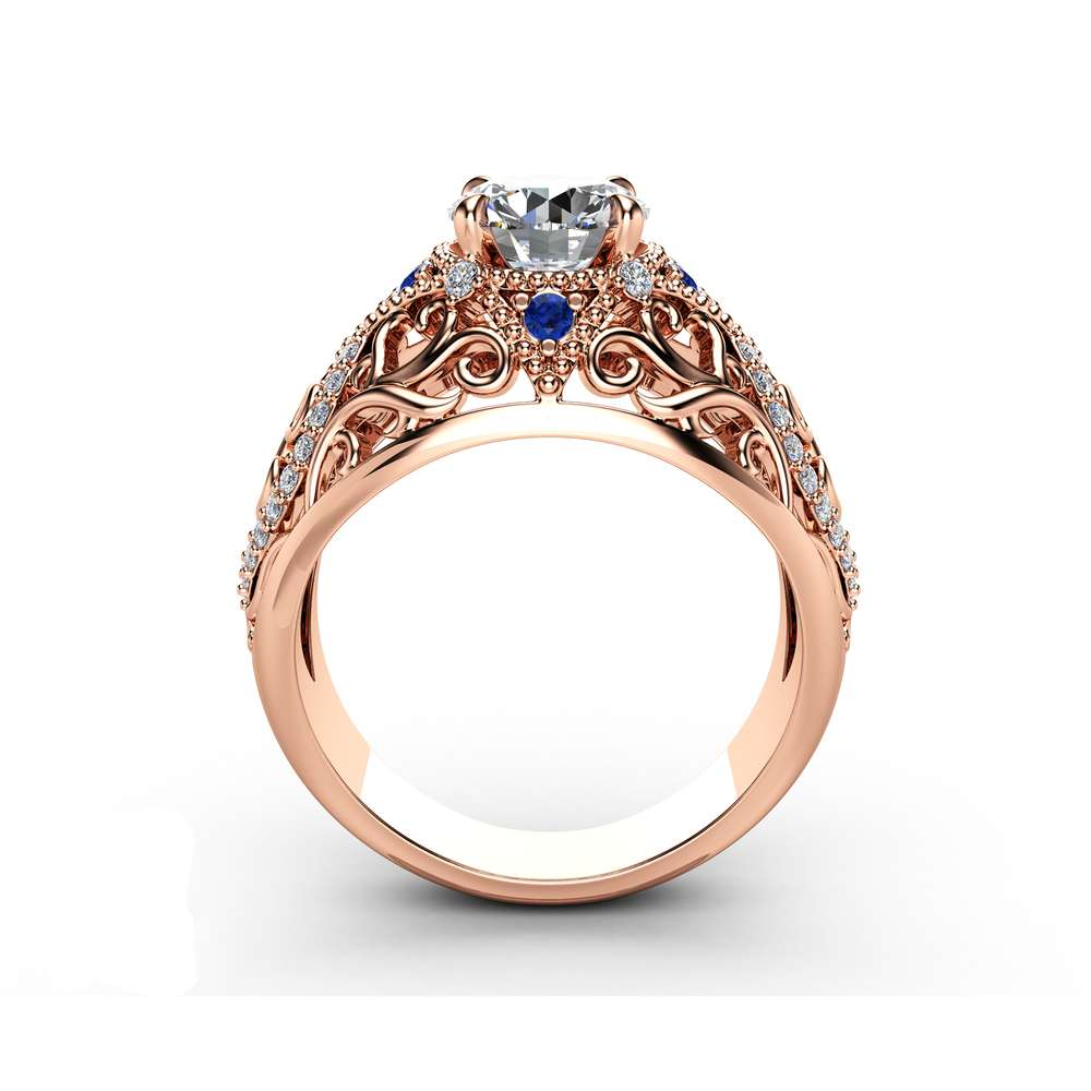 Rose Gold Unique Engagement Ring Moissanite Filigree Ring Unique Diamonds and Sapphires Engagement Ring