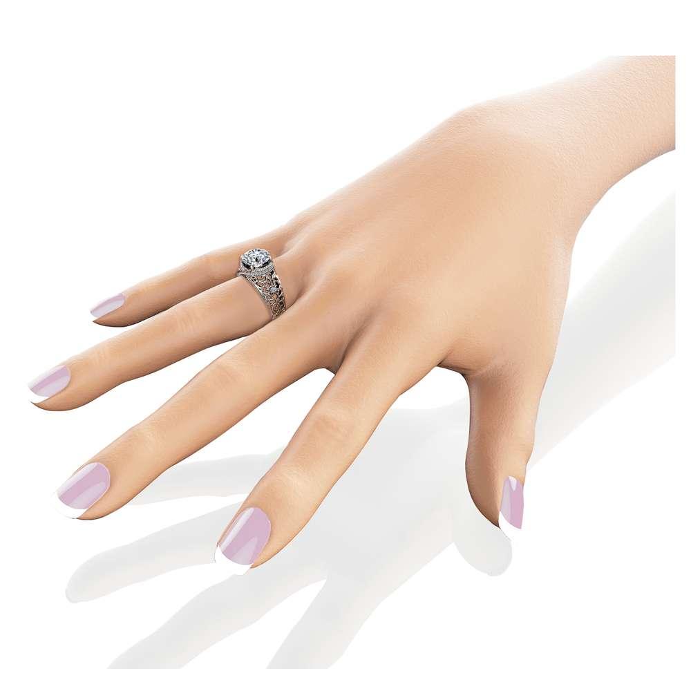Gold Filigree Moissanite Engagement Ring 14K White Gold Ring Unique Diamonds Engagement Ring
