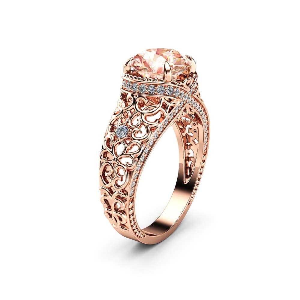 Rose Gold Filigree Morganite Engagement Ring 14k Rose Gold Ring