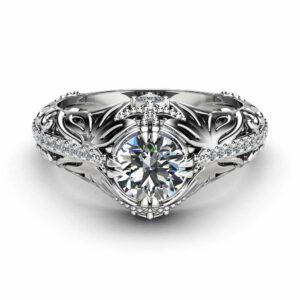 Moissanite Art Nouveau Engagement Ring 14K White Gold Filigree Ring Moissanite Ring with Square Diamonds