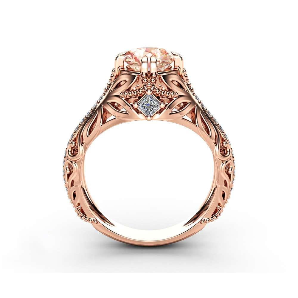 Morganite Art Nouveau Engagement Ring 14K Rose Gold Filigree Ring Morganite Ring with Square Diamonds