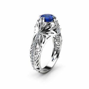 Sapphire Art Nouveau Engagement Ring 14K  White Gold Square Diamonds