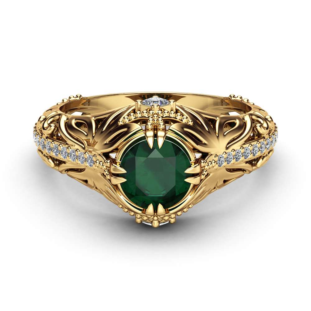 Emerald Art Nouveau Engagement Ring 14K Yellow Gold Filigree Ring Emerald Ring with Square Diamonds