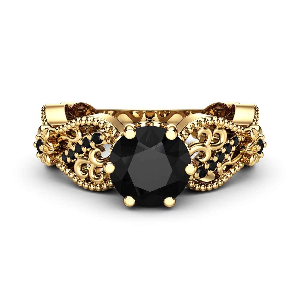 Milgrain Moissanite Engagement Ring 14K White Gold Diamonds Ring Unique Filigree Ring