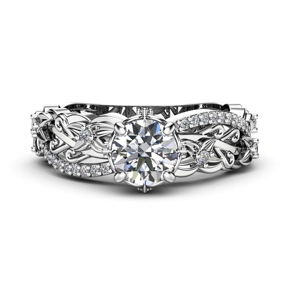 Floral Diamods Engagement Ring 14K White Gold Handmade Ring Moissanite Floral Ring with Diamonds Gift for Her
