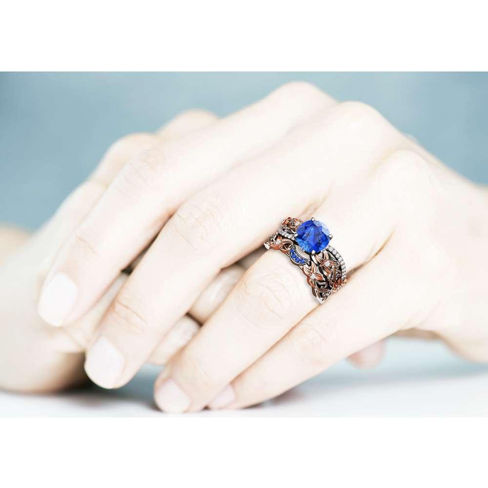 Blue Sapphire Ring Set 14K White and Rose Gold Bridal Set Flowers Engagement Wedding Ring Set