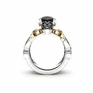 Black Diamond Ring Set 14K White and Yellow Gold Bridal Set Flowers Engagement Wedding Ring Set
