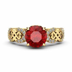Swirl Ruby Engagement Ring 14K Yellow Gold Handmade Ring July Birthstone