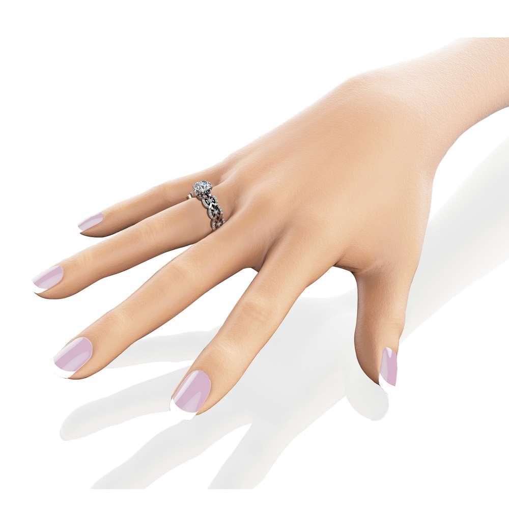 Moissanite Vintage Engagement Ring 14K White Gold Engagement Ring Charles Colvard Moissanite Vintage Ring