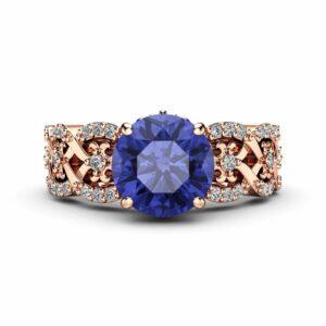 Tanzanite Vintage Engagement Ring 14K Rose Gold Engagement Ring Natural Tanzanite Vintage Ring